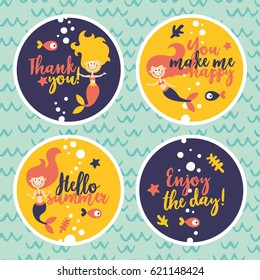 Marine cute set of stickers with mermaids, fishes, algae, starfish, coral, seabed, bubble, thank you, enjoy the day, hello summer, wave