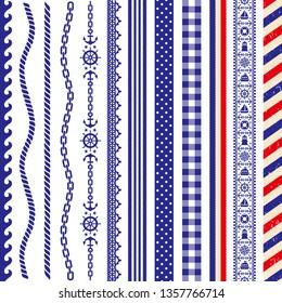marine decoration. Set of sailor borders.