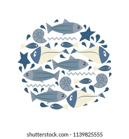 marine elements in the form of a circle. Fish, seashells, starfish. Perfect for invitations, greeting cards, posters, prints, banners, flyers etc