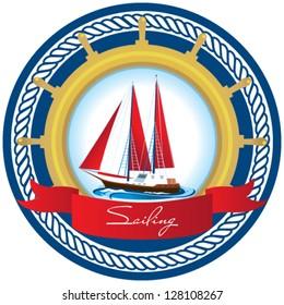 Marine emblem with a sailboat