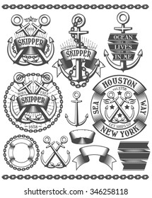 Marine emblem, tattoo with anchors, chains, in vintage style. Text on the banners can be easily removed.