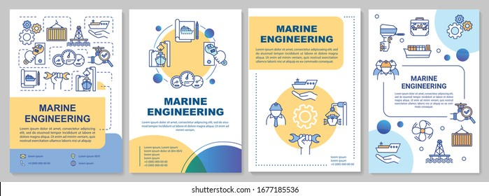 Marine engineering brochure template. Maritime construction worker. Flyer, booklet, leaflet print, cover design with linear icons. Vector layouts for magazines, annual reports, advertising posters