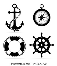 marine equipment anchor compass lifebuoy steering stock vector illustration isolated on white background