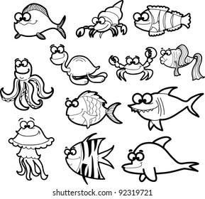 Marine fishes, vector illustration