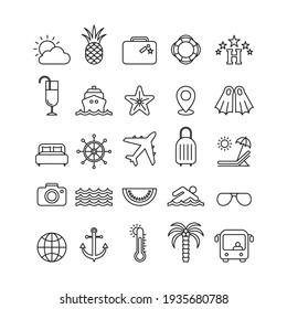 Marine flat vector icons set. Trip flat vector icons