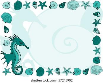 Marine frame with seahorse, shells and sea stars