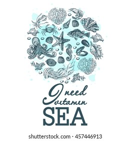 Marine graphic print with watercolor stains. Print on the marine theme. Illustration for greeting cards, invitations, and other printing projects.