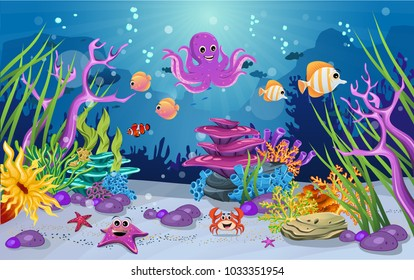 marine habitats and the beauty of coral reefs. There are anemones, fish and octopus that are funny. algae and coral reefs are beautiful and colorful