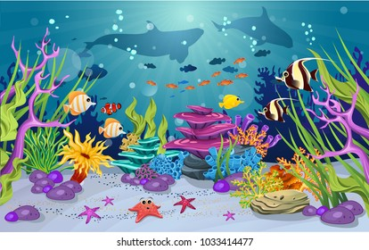 marine habitats and the beauty of coral reefs. There are anemones and fish that are funny. there is a whale silhouette