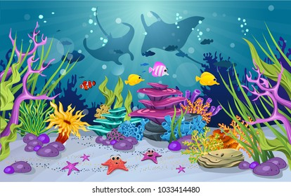 marine habitats and the beauty of coral reefs. There are anemones and cute fish. there is a stingray silhouette