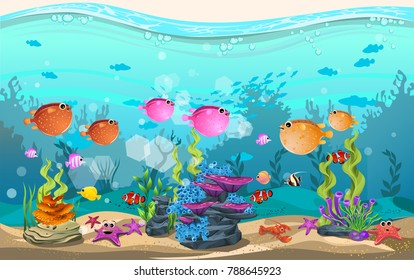 marine habitats and the beauty of coral reefs. there are anemones, fish, puffer fish and octopus funny.