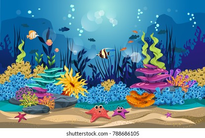 marine habitats and the beauty of coral reefs. there are anemones, fish, puffer fish and octopus so funny.