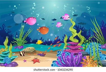 marine habitats and the beauty of coral. There are anemones, fish and reefs.