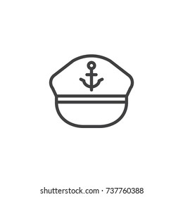 Marine hat line icon, outline vector sign, linear style pictogram isolated on white. Symbol, logo illustration. Editable stroke