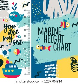 Marine height chart, meter for baby, boy, kid, sea, ship, boat, fish, whale, wave, splash, blue, bubbles