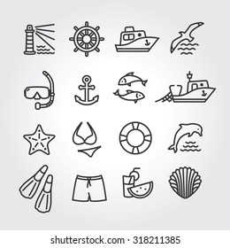 Marine icon, logo, logotype - dolphin, lighthouse, seagull, bird, boat, ship, fishing,  fish, anchor, starfish, swimsuit, shorts, fins, steering wheel, lifebuoy, watermelon, cocktails, shell