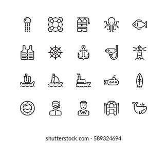 Marine icon set, outline style