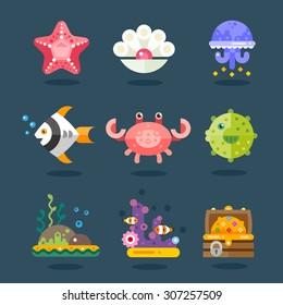 Marine icon set. Residents of sea fauna, underwater life. Fish, starfish, jellyfish, chest of gold, algae and attributes. Vector flat illustration