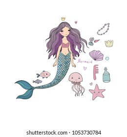 Marine illustrations set. Little cute cartoon mermaid, funny fish, starfish, bottle with a note, algae, various shells and jellyfish. Sea theme. Vector.