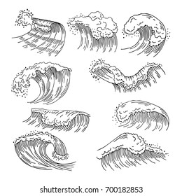 Marine illustrations of water splashes and big waves. Vector hand drawn pictures