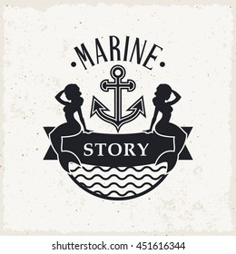 Marine label with two mermaids sitting on vintage ribbon banner with anchor. Vector illustration.