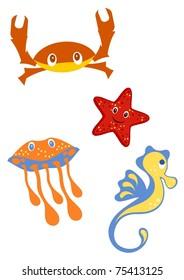 marine life - crab, starfish, jellyfish, seahorse