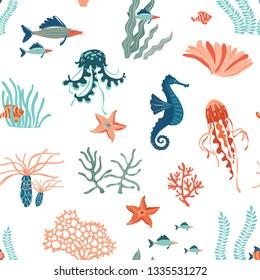 Marine Life hand drawn flat vector seamless pattern background. Underwater animals wildlife. Vector illustration. Marine creatures, jellyfishes, starfish fish, corals cartoon clipart