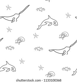 Marine life pattern seamless. Starfish, crab, killer whale, jellyfish, narwhal. Vector illustration. Isolated white background.