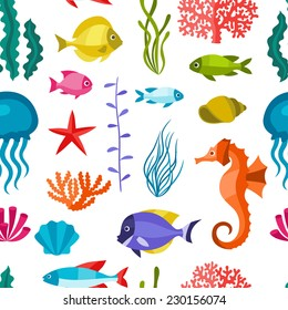 Marine life seamless pattern with sea animals.