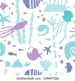 Marine life, underwater world modern design seamless pattern for wrapping, textile, print. Algae, seashell and sea animals: jellyfish, squid and starfish, shrimp, crab and actinium vector elements.