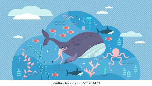 marine life vector illustration. Flat tiny sea or ocean fishes and animals visualization. Underwater wildlife with big whale. Swimming fauna exploration and research for providing sustainable habitat.