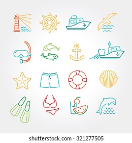 Marine line icon color, logo, logotype - dolphin, lighthouse, seagull, bird, boat, ship, fishing, fish, anchor, starfish, swimsuit, shorts, fins, steering wheel, lifebuoy, watermelon, cocktails, shell
