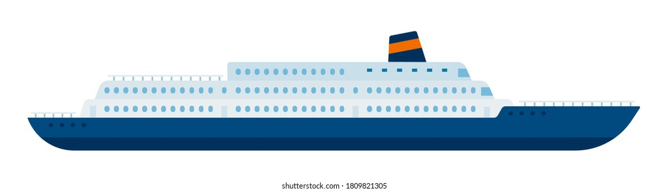 Marine liner, cruise ship making a tourist voyage and carrying passengers vector isolated.