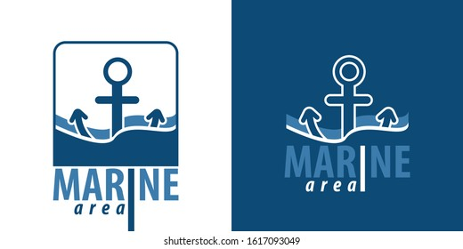 Marine logo template with anchor and text - Marine. Vector illustration.