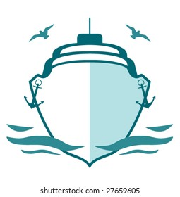 Marine logo. Vector icon of ship and seagulls