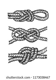 Marine nautical knot engraving vector illustration. Scratch board style imitation. Black and white hand drawn image.