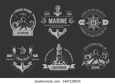 Marine or nautical symbols isolated icons vector octopus and anchor stirring wheel lighthouse marlin and kraken chalk sketches emblem or logo underwater animals beacon or searchlight and ship parts.