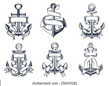 Marine or nautical themed ships anchor icons with blank ribbon banners entwined around the anchors, vector illustration