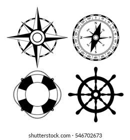 Marine nautical vector icon set illustration isolated on white background