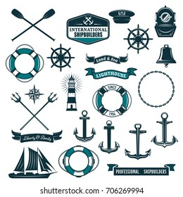 Marine navy and nautical heraldic icons set. Vector crossed paddles, ship anchor or helm and life buoy, trident and aqualung mask, boat bell or lighthouse and wind rose compass with frigate and ribbon