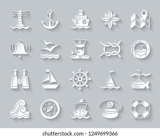Marine paper cut art icons set. 3D sign kit of nautical. Sea Knot pictogram collection includes lifebuoy, submarine, porthole ship. Simple marine vector paper carved icon shape. Material design symbol