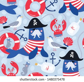 Marine pattern with cute nautical animals in pirates and sailors costumes. Walrus pirate in hat, one-eyed mask. Pattern for kids with anchor, shell, seagull, seahorse, crab, lifebuoy, letter in bottle