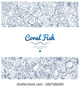 Marine pattern of deep-sea fish, algae. Monochrome, frame for banners, advertising of marine products, aquariums. Blue silhouette of their lines on a white background. Vector illustration.