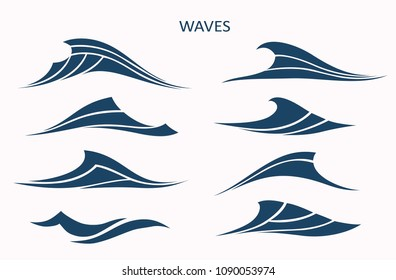 Marine pattern with stylized blue waves on a light background. Water Wave Logo abstract design. Cosmetics Surf Sport Logotype concept.