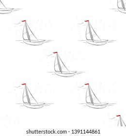 Marine pattern yachts silhouette on wave. Light summer sports seamless pattern. Marine icon sketch splash ink. Ship, sailboat nautical. Prints Retro sailing transport. Infinitely repeating motif.
