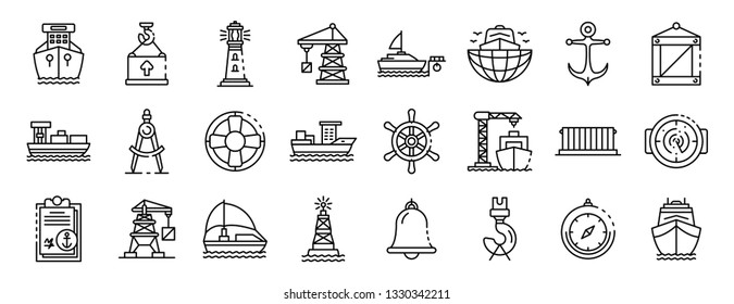 Marine port icons set. Outline set of marine port vector icons for web design isolated on white background
