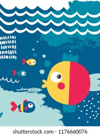 Marine poster with fish, boat, whale, wave, blue, baby, colorful
