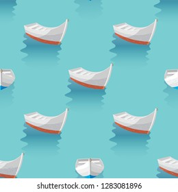 Marine print boat sailing in blue sea. the boats are laid up Seamless pattern