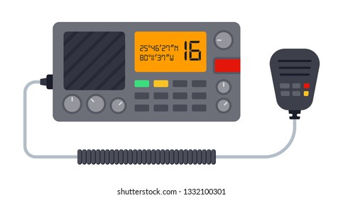 Marine radio with walkie-talkie vector flat icon isolated on white