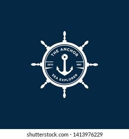 marine retro emblems logo with anchor and ship wheel, anchor logo - vector